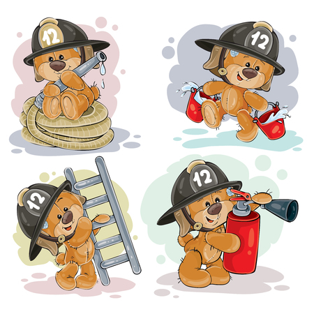 Clipartillustration eines Teddybärfeuerwehrmanns mit Rettungsausrüstung, Schlauch, Feuerlöscher, wenn ein Eimer und eine Leiter auf Weiß lokalisiert sind. Polygraph, Gestaltungselemente. Vektorgrafik