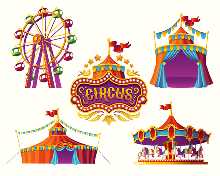 Set of vector illustrations of carnival circus icons with tent, carousels, flags isolated on white background.Print, design element. Stock Illustratie