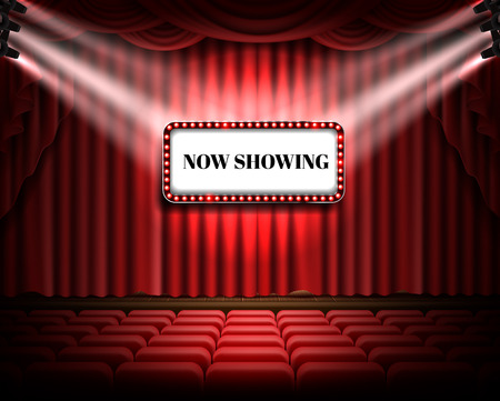 Red curtain and empty illuminated theatrical stage with white luminous banner and text now showing, realistic vector. Grand opening concept, performance event premiere poster, announcement template.