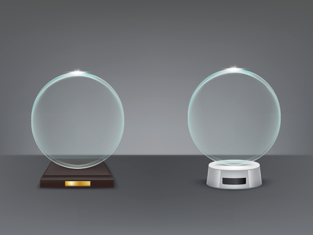 Realistic round glass trophy, sport and business award, prize to the winner of the competition, winning cup, vector isolated illustration, front view.