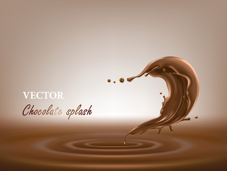 Vector 3D illustration of melted, liquid chocolate splash in a realistic style. Template for package design, promotion flyer, poster, banner. Mock up for your product. Vettoriali