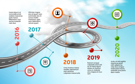 Vector company corporate milestone timeline, business presentation layout.