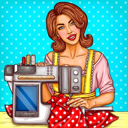 De vector die mooie vrouwennaaister glimlachen naait op een moderne naaimachine met vertoning. Handwerken, hobby voor huisvrouw, naaister in werkplaats thuis. Pop-artillustratie op blauwe achtergrond met punten