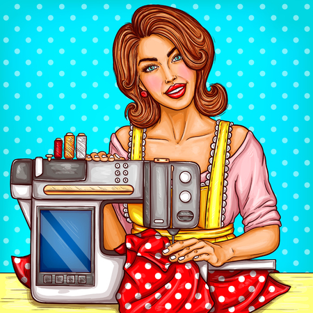 Vector smiling pretty woman seamstress sews on a modern sewing-machine with display. Needlework, hobby for housewife, dressmaker in home workshop. Pop art illustration on blue background with dots
