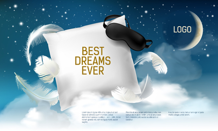 Vector illustration with realistic 3d square pillow with blindfold on it for the best dreams ever, comfortable sleep. Soft cushion. Relaxation, sleeping concept. Night, clouds, stars background. Illustration