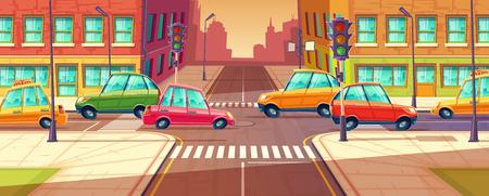 Vectorstadskruispunten, opstopping, vervoer het bewegen, voertuignavigatie. Stedelijke snelweg, zebrapad met verkeerslichten. Cartoon afbeelding Stock Illustratie