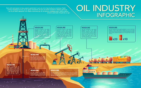 Vector oil industry business presentation infographics. Oil extraction, transportation of petroleum gasoline diesel. Illustration with oil derrick pump rig, rail fuel tanks, oil tanker ship