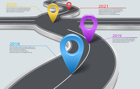 Vector company corporate milestone, history timeline, business presentation layout, infographic strategic plan workflow, grey background. Car road with crossroad, years, pointers, concept template