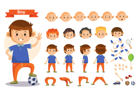Boy playing sport and toys cartoon character vector constructor isolated icons of body parts, hair and emotions or uniform garments and playthings. Construction set of young boy child playing soccer Illustration