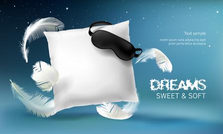 白い枕、スリープマスク、羽、青い夜の背景に隔離されたベクトル3Dリアルなイラスト。快適な睡眠と甘い夢のための柔らかいクッション。製品をプ  イラスト・ベクター素材