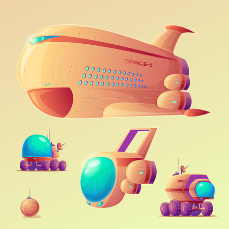 Vector mars colonization cartoon objects set. Spaceship, shuttle, mars rovers, base colony generato. Illustrations for futuristic infographics, banners in galaxy exploration, planet terraforming style