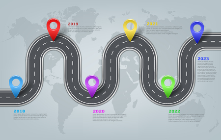Vector company corporate car road on world map milestone, timeline, business presentation layout.