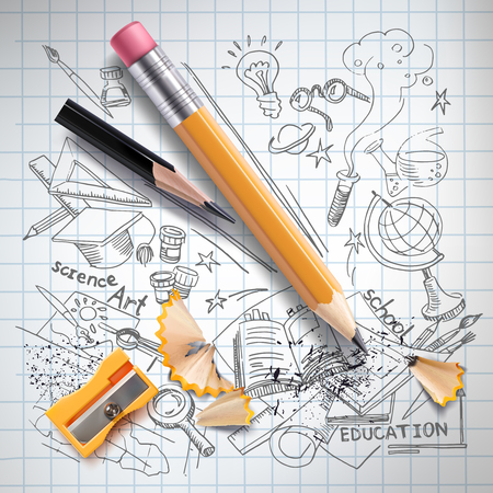Realistic pencils, sharpener, shavings on notebook paper with colored sketch creative education, science, school doodles symbols. Concept of idea, study, research and development illustration.