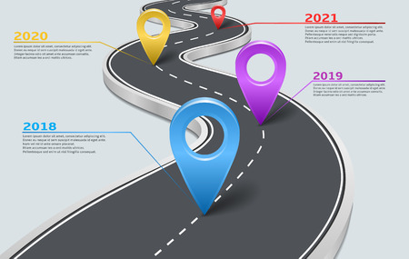 Vector company corporate milestone, history timeline, business presentation layout, info graphic strategic plan workflow, grey background. Car road with marks, years, pointers, concept template.