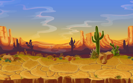 Vector seamless desert landscape. Horizontal cartoon game, banner background, panorama with wild nature, cactus, rocks, trees, mountains sunset cloud sky, canyon dry ground.