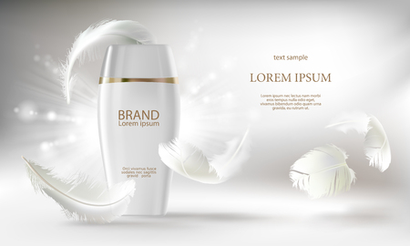 Vector cosmetic banner with 3d realistic white bottle for skin care cream or body lotion, mockup to promotion your brand. Beauty product concept illustration on shiny light background with feathers Иллюстрация
