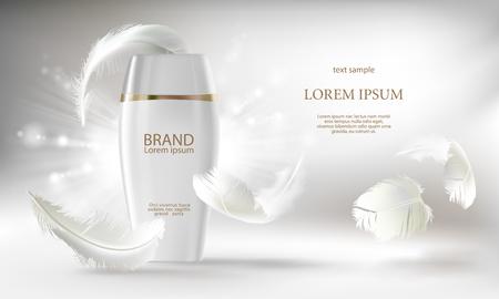 Vector cosmetische banner met 3D-realistische witte fles voor huidverzorging crème of bodylotion, mockup om uw merk te promoten. Schoonheid product concept illustratie op glanzende lichte achtergrond met veren