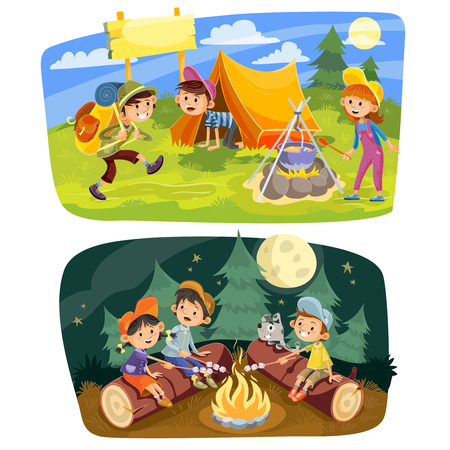 Kids summer camping vector concept illustration. Group of teens make a camp at nature, rest in tent, cook food outdoor and roast marshmallow on campfire in evening time. Illustration