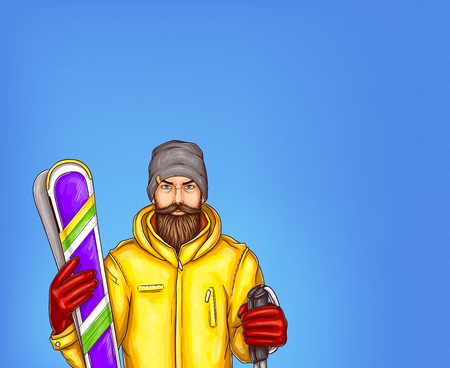 Pop art skier man vector sketch illustration. Hipster adult man bearded in winter sport modern yellow skiing jacket outfit, gloves and knitted hat holding skies isolated on blue background Illustration