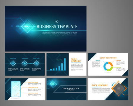 Vector business template set. Blue abstract banner, presentation with infographics, chart, diagram layout.