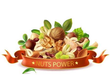 Vector realistic nuts power banner template isolated. Types of nuts leaves mix, organic product packaging design.