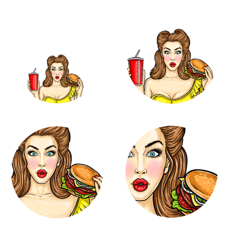 Vector pop art avatar of girl holds hamburger and cola. Illustration for fast food restaurant, cafe or obesity concept. Icon for chat, blog, networking