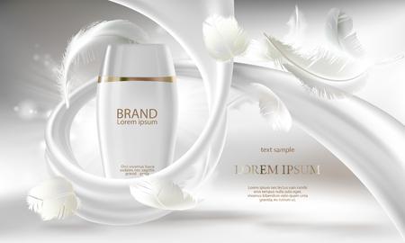 Bannière cosmétique avec une bouteille blanche réaliste de vecteur 3d pour une crème de soin de la peau ou une lotion pour le corps, prêt à être utilisé pour la promotion de votre marque. Illustration de concept de produit de beauté avec tourbillon crémeux et plumes. Vecteurs