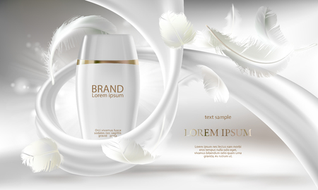 Cosmetic banner with 3d vector realistic white bottle for skin care cream or body lotion, ready mock up for promotion your brand. Beauty product concept illustration with creamy swirl and feathers.