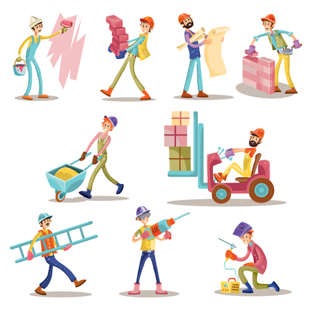 Construction workers vector cartoon funny men icons set. Builder, constructor profession man, mason laying bricks or carry concrete blocks in wheelbarrow and ladder, welder and worker painting wall.