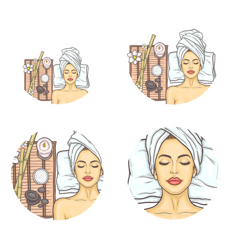 Set of female round vector avatars for users of social networks, blogs, profile icons in pop art style. Young girl with closed eyes relaxes in spa salon after cosmetic procedures and massage.