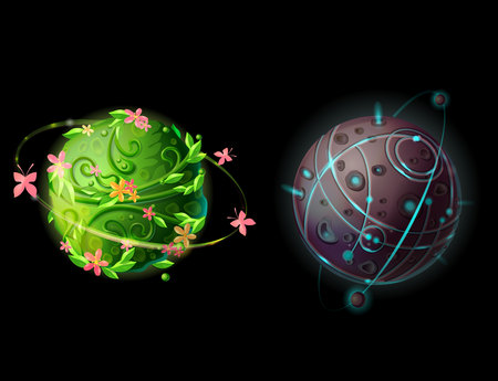 Cartoon fantastic planets and worlds set. Cosmic, alien space elements for game design. Illustration with green plants galaxy with butterflies and flowers, stone planet with satellites and craters.