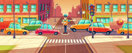 Illustration of adjusting city crossroads in rush hour, traffic jam, transport moving, vehicles by crossing guard. Urban highway regulation, crosswalk with traffic lights and machines.