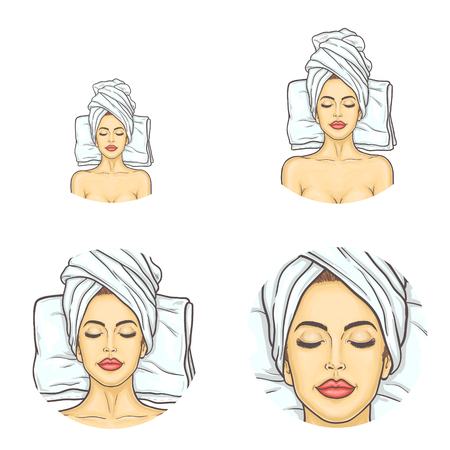 Vector set of female round avatars for users of social networks, blogs, profile icons in pop art style. Young girl with closed eyes, with towel on her head relaxes in spa salon after beauty procedures