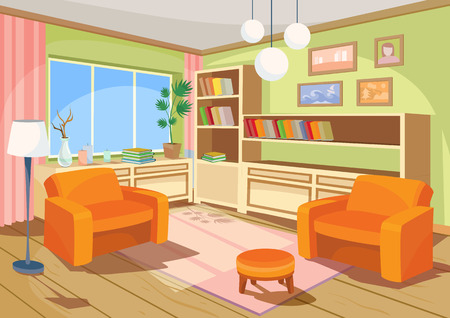 illustration of a cozy cartoon interior of an orange home room, a living room with two soft armchairs, ottoman, chest of drawers, book shelves and floor lamp