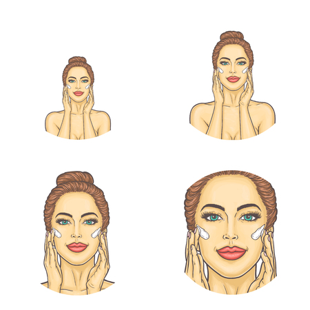 Vector set of female round avatars for users of social networks, blogs, profile icons in pop art style. Young attractive sexy woman applies moisturizing cream on skin and makes herself a face massage