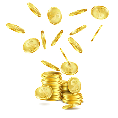 Vector realistic falling gold coins isolated on white background. Golden money rain and stack of metal dollars with S symbol. Concept illustration of business success or cash jackpot for casino poster Иллюстрация