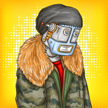 Vector pop art illustration of robot, android in fashion jacket, cap, modern clothing. Artificial intelligence, steampunk, cyborg concept. Promotion, advertisement design