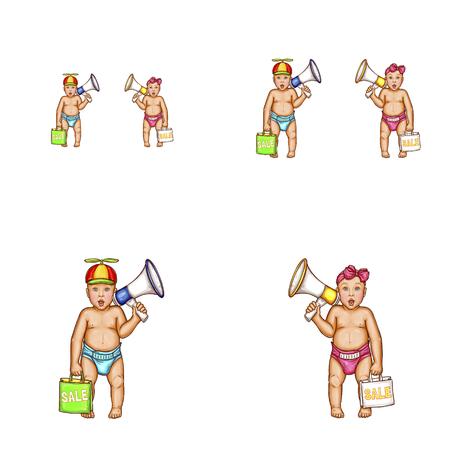 Conjunto de vetor pop art rodada avatar ícones para blogs de usuários de redes sociais, perfis. Surpreso bebê na fralda, menino no cap de hélice, garota de proa na cabeça segurando o saco de compras megafone com inscrição de venda