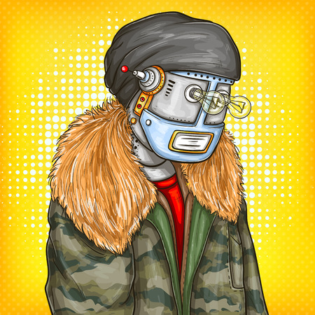 Pop art vector illustration of robot in fashion jacket, modern clothing with light bulbs instead of eyes. Artificial intelligence, steampunk, cyborg concept, promotion, advertisement design.