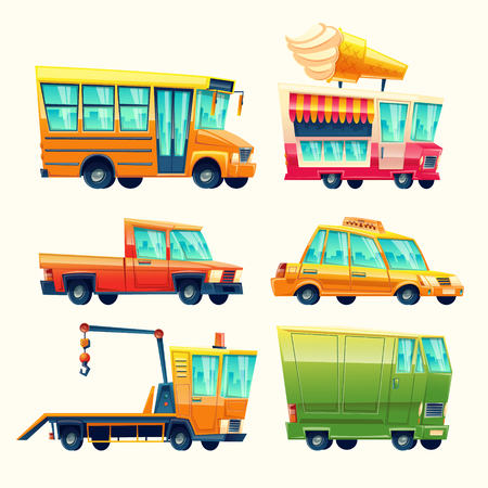 Transport vehicles vector cartoon icons. Isolated flat colorful public and passenger set of school bus or taxi and recovery tow truck, ice cream promo vending van and armored minivan or pickup car.
