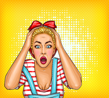 Vector pop art shocked, surprised girl with opened mouth. Blonde housewife woman touching her head with amazed face. Illustration for sale, discount, promo, advertising poster