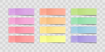 Notes autocollantes colorées de vecteur, poster des autocollants avec des ombres isolés sur un fond transparent. Ruban adhésif en papier multicolore, flans de bureau vides de rectangle, listes de rappel. Idéal pour la bannière