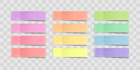 Vector colorful sticky notes, post stickers with shadows isolated on a transparent background. Multicolor paper adhesive tape, rectangle empty office blanks, reminder lists. Great for banner