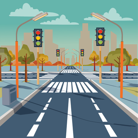Vector illustration of city crossroad with traffic lights, road markings, sidewalk for pedestrians, without any cars and people.