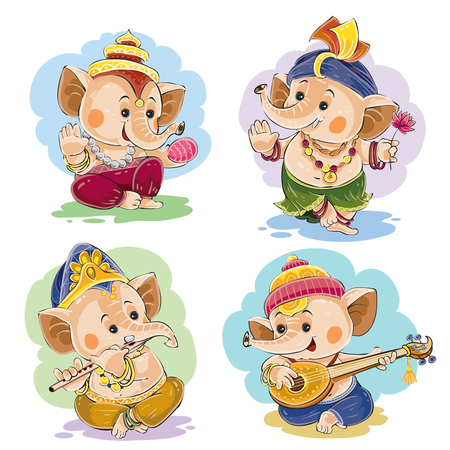 Vector cartoon illustration of little baby Ganesha, indian god of wisdom and prosperity, in traditional indian clothes. Set of cute elephant characters, dance and play on musical national instruments