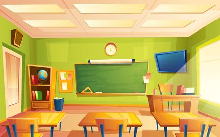 Interno di aula scuola vettoriale. Università, concetto educativo, lavagna, tavolo, sedia mobili da college. Illustrazione della sala di formazione per pubblicità, web, promozione su Internet Vettoriali