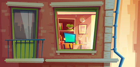 House facade element vector cartoon illustration of city apartments outside wall with window and balcony. Many storied house building with room view inside window from outdoor street with rain pipe Illustration