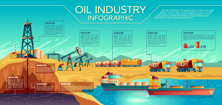 Vector oil industry business presentation infographics. Oil extraction, transportation of petroleum gasoline diesel. Illustration with oil derrick pump rig, rail fuel tanks, trucks, oil tanker ship.
