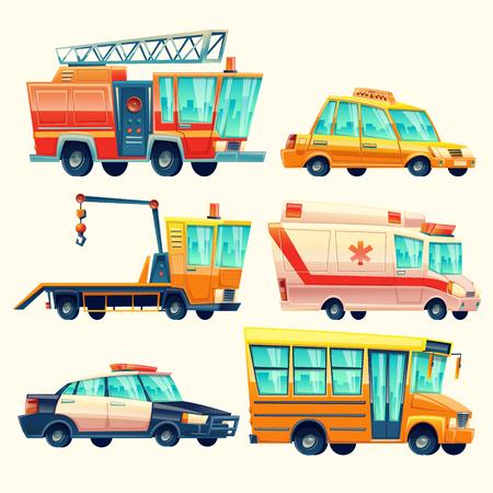 Vector cartoon municipal city services, emergency, police car, firetruck, ambulance, taxi transport, school bus, evacuator, social, public urban occupations Great illustration for networking, web.