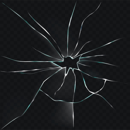 illustration of a broken, cracked glass with a hole in a realistic style on a black background Stock Photo